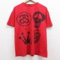 XL★古着 半袖 ブランド Tシャツ ステューシー Stussy スカル 王冠 大きいサイズ コットン クルーネック 赤 レッド 21may14 中古 メンズ