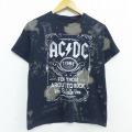 S★古着 半袖 ロック バンド Tシャツ AC/DC クルーネック 黒 ブラック ブリーチ加工 20jul07 中古 メンズ