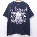 XL★古着 半袖 ロック バンド Tシャツ ラムオブゴッド 大きいサイズ コットン クルーネック 黒 ブラック 20aug04 中古 メンズ