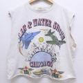 L★古着 ノースリーブ ビンテージ タンクトップ 90年代 90s シカゴ 戦闘機 クルーネック USA製 白 ホワイト 20jun19 中古 メンズ