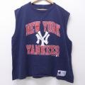 XL★古着 ノースリーブ ビンテージ Tシャツ 90年代 90s チャンピオン champion MLB ニューヨークヤンキース 大きいサイズ クルーネック 紺 ネイビー 20jul15 中古 メンズ