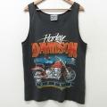 L★古着 ビンテージ ハーレーダビッドソン Harley Davidson タンクトップ 80年代 80s バイク USA製 黒 ブラック 21apr07 中古 メンズ