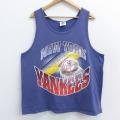 XL★古着 ビンテージ タンクトップ 90年代 90s MLB ニューヨークヤンキース コットン クルーネック 紺 ネイビー メジャーリーグ ベースボール 野球 【spe】 21apr08 中古 メンズ