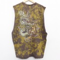XL★古着 ノースリーブ Tシャツ ハードロックカフェ オーランド 龍 ドラゴン 大きいサイズ コットン クルーネック 茶 ブラウン ブリーチ加工 21apr22 中古 メンズ