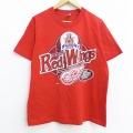 L★古着 半袖 ビンテージ Tシャツ 90年代 90s NHL デトロイトレッドウィングス コットン クルーネック USA製 赤 レッド アイスホッケー 20jun17 中古 メンズ