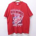 XL★古着 半袖 ビンテージ Tシャツ 90年代 90s NHL デトロイトレッドウィングス 大きいサイズ コットン クルーネック 赤 レッド アイスホッケー 20jun25 中古 メンズ