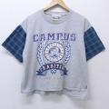 XL★古着 半袖 ビンテージ Tシャツ 90年代 90s キャンパス ショート丈 クルーネック グレー他 20jun29 中古 メンズ