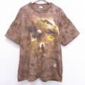 XL★古着 半袖 ビンテージ Tシャツ 00年代 00s リキッドブルー 鳥 大きいサイズ コットン クルーネック USA製 茶 ブラウン タイダイ 20jun29 中古 メンズ