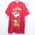 XL★古着 半袖 ビンテージ Tシャツ 90年代 90s スヌーピー SNOOPY ウッドストック 大きいサイズ コットン クルーネック 赤 レッド 20jun29 中古 メンズ
