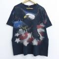 XL★古着 半袖 ビンテージ Tシャツ 00年代 00s リキッドブルー 鳥 星条旗 全面プリント クルーネック 黒 ブラック 【spe】 20jun29 中古 メンズ