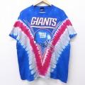 XL★古着 半袖 ビンテージ Tシャツ 00年代 00s NFL ニューヨークジャイアンツ 大きいサイズ コットン クルーネック 青他 ブルー タイダイ アメフト スーパーボウル 20jun30 中古 メンズ