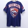 XL★古着 半袖 ビンテージ Tシャツ 90年代 90s NFL デンバーブロンコス 大きいサイズ コットン クルーネック USA製 紺 ネイビー アメフト スーパーボウル 20jun30 中古 メンズ