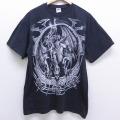 XL★古着 半袖 ビンテージ Tシャツ 00年代 00s リキッドブルー ドラゴン コットン クルーネック 黒 ブラック 【spe】 20jun30 中古 メンズ
