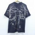 L★古着 半袖 ビンテージ Tシャツ 00年代 00s DAGRIND 死神 スカル 全面プリント コットン クルーネック 黒 ブラック 20jul02 中古 メンズ