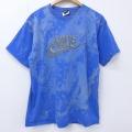 L★古着 半袖 ビンテージ Tシャツ 00年代 00s ナイキ NIKE ビッグロゴ コットン クルーネック 青 ブルー ブリーチ加工 20jul02 中古 メンズ