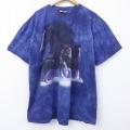 XL★古着 半袖 ビンテージ Tシャツ 00年代 00s 馬 大きいサイズ コットン クルーネック 紺 ネイビー タイダイ 20jul02 中古 メンズ