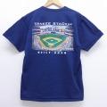 L★古着 半袖 ビンテージ Tシャツ 00年代 00s マジェスティック MLB ニューヨークヤンキース ヤンキースタジアム コットン クルーネック 紺 ネイビー メジャーリーグ ベースボール 野球 20jul02 中古 メンズ