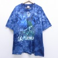 XL★古着 半袖 ビンテージ Tシャツ 00年代 00s オオカミ 大きいサイズ コットン クルーネック 青 ブルー タイダイ 20jul02 中古 メンズ