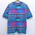 XL★古着 半袖 ビンテージ Tシャツ 90年代 90s ラングラー Wrangler ネイティブ柄 ラグ柄 ヘンリーネック 青緑 【spe】 20jul02 中古 メンズ