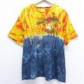 XL★古着 半袖 ビンテージ Tシャツ 90年代 90s ライオン サイ キリン 大きいサイズ コットン クルーネック USA製 黄他 イエロー タイダイ 20jul02 中古 メンズ