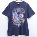 XL★古着 半袖 ビンテージ Tシャツ 90年代 90s NHL バッファローセイバーズ 大きいサイズ コットン クルーネック 黒 ブラック アイスホッケー 20jul03 中古 メンズ