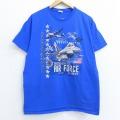 L★古着 半袖 Tシャツ ミリタリー 戦闘機 エアフォース 星条旗 コットン クルーネック 青 ブルー 20jul08 中古 メンズ