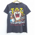 M★古着 半袖 ビンテージ Tシャツ 80年代 80s ルーニーテューンズ LOONEY TUNES タズ ギター ドラム コットン クルーネック USA製 黒 ブラック 20jul08 中古 メンズ