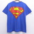 L★古着 半袖 ビンテージ Tシャツ 00年代 00s DCコミックス スーパーマン コットン クルーネック 青 ブルー 20jul09 中古 メンズ