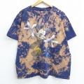 XL★古着 半袖 ビンテージ Tシャツ 90年代 90s ディズニー DISNEY ミッキー MICKEY MOUSE グーフィー カリフォルニア 大きいサイズ コットン クルーネック 紺他 ネイビー ブリーチ加工 【spe】 20jul10 中古 メンズ