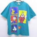 XL★古着 半袖 ビンテージ Tシャツ 90年代 90s ディズニー DISNEY ミッキー MICKEY MOUSE グーフィー プルート 大きいサイズ クルーネック 青緑 20jul10 中古 メンズ