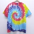 XL★古着 半袖 ビンテージ Tシャツ 00年代 00s 大きいサイズ クルーネック 赤他 レッド タイダイ 20jul10 中古 メンズ