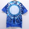 XL★古着 半袖 ビンテージ Tシャツ 90年代 90s 大きいサイズ コットン クルーネック USA製 青 ブルー タイダイ 20jul10 中古 メンズ