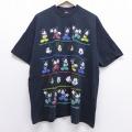 XL★古着 半袖 ビンテージ Tシャツ 90年代 90s ディズニー DISNEY ミッキー MICKEY MOUSE 大きいサイズ コットン クルーネック USA製 黒 ブラック 20jul10 中古 メンズ