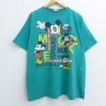 XL★古着 半袖 ビンテージ Tシャツ 90年代 90s ディズニー DISNEY ミッキー MICKEY MOUSE 大きいサイズ コットン クルーネック 青緑 20jul14 中古 メンズ