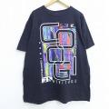 XL★古着 半袖 Tシャツ クージー COOGI ビッグロゴ フロッキープリント 大きいサイズ コットン クルーネック 黒 ブラック 20jul14 中古 メンズ