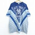 XL★古着 半袖 ビンテージ Tシャツ 00年代 00s マジェスティック MLB ニューヨークヤンキース 大きいサイズ ロング丈 コットン クルーネック 紺他 ネイビー タイダイ メジャーリーグ ベースボール 野球 20jul15 中古 メンズ
