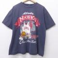 XL★古着 半袖 ビンテージ Tシャツ 00年代 00s NBA アトランタホークス 大きいサイズ クルーネック 黒 ブラック バスケットボール 20jul16 中古 メンズ