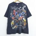 XL★古着 半袖 ビンテージ Tシャツ 00年代 00s マーベル スパイダーマン キャプテンアメリカ ヴェノム コットン クルーネック 黒 ブラック 20jul16 中古 メンズ