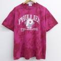 XL★古着 半袖 ビンテージ Tシャツ 90年代 90s MLB フィラデルフィアフィリーズ コットン クルーネック USA製 エンジ ブリーチ加工 20jul27 中古 メンズ
