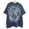 XL★古着 半袖 ビンテージ Tシャツ 00年代 00s リキッドブルー ドラゴン スカル 大きいサイズ コットン クルーネック 黒 ブラック 20jul28 中古 メンズ
