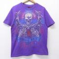 M★古着 半袖 ビンテージ Tシャツ 00年代 00s マイアミインク スケルトン コットン クルーネック 紫 パープル 20aug03 中古 メンズ