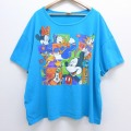 XL★古着 半袖 ビンテージ Tシャツ 90年代 90s ディズニー DISNEY ミッキー MICKEY MOUSE ドナルドダック ミニー 大きいサイズ コットン クルーネック USA製 水色 20aug03 中古 メンズ