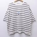 XL★古着 半袖 ビンテージ Tシャツ 90年代 90s オーシャンパシフィック OP ロゴ 大きいサイズ クルーネック 白他 ホワイト ボーダー 20aug03 中古 メンズ
