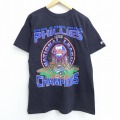 L★古着 半袖 ビンテージ Tシャツ 90年代 90s スターター STARTER MLB フィラデルフィアフィリーズ チャンピオンズ コットン クルーネック USA製 黒 ブラック メジャーリーグ ベースボール 野球 20aug04 中古 メンズ