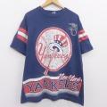 XL★古着 半袖 ビンテージ Tシャツ 90年代 90s MLB ニューヨークヤンキース アメリカンリーグ 大きいサイズ コットン クルーネック USA製 紺 ネイビー メジャーリーグ ベースボール 野球 20aug04 中古 メンズ