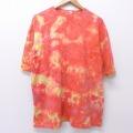 XL★古着 半袖 ビンテージ Tシャツ 90年代 90s 無地 クルーネック オレンジ他 タイダイ 20aug05 中古 メンズ