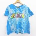 XL★古着 半袖 ビンテージ Tシャツ 90年代 90s ハイビスカス コットン クルーネック USA製 水色 ブリーチ加工 20aug19 中古 メンズ