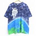 XL★古着 半袖 ビンテージ Tシャツ 00年代 00s 宇宙飛行士 大きいサイズ コットン クルーネック 紺他 ネイビー タイダイ 20aug25 中古 メンズ