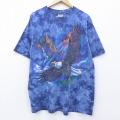 XL★古着 半袖 ビンテージ Tシャツ 00年代 00s 鳥 コットン クルーネック 紺 ネイビー タイダイ 20sep07 中古 メンズ