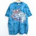 XL★古着 半袖 ビンテージ Tシャツ 00年代 00s トラ ホワイトタイガー 大きいサイズ コットン クルーネック 緑系 グリーン タイダイ 20sep22 中古 メンズ